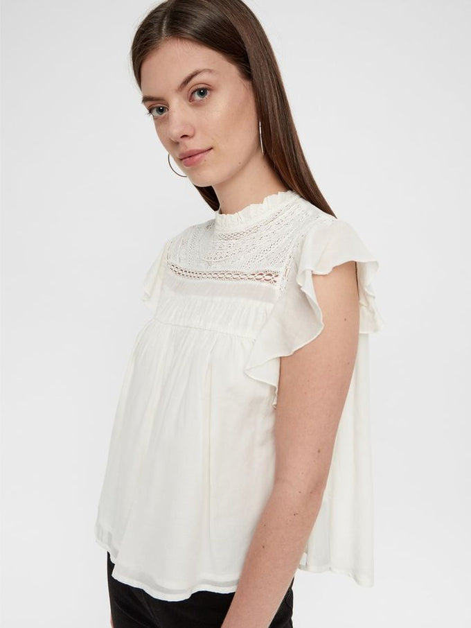 BABYDOLL BLOUSE WITH LACE SNOW WHITE
