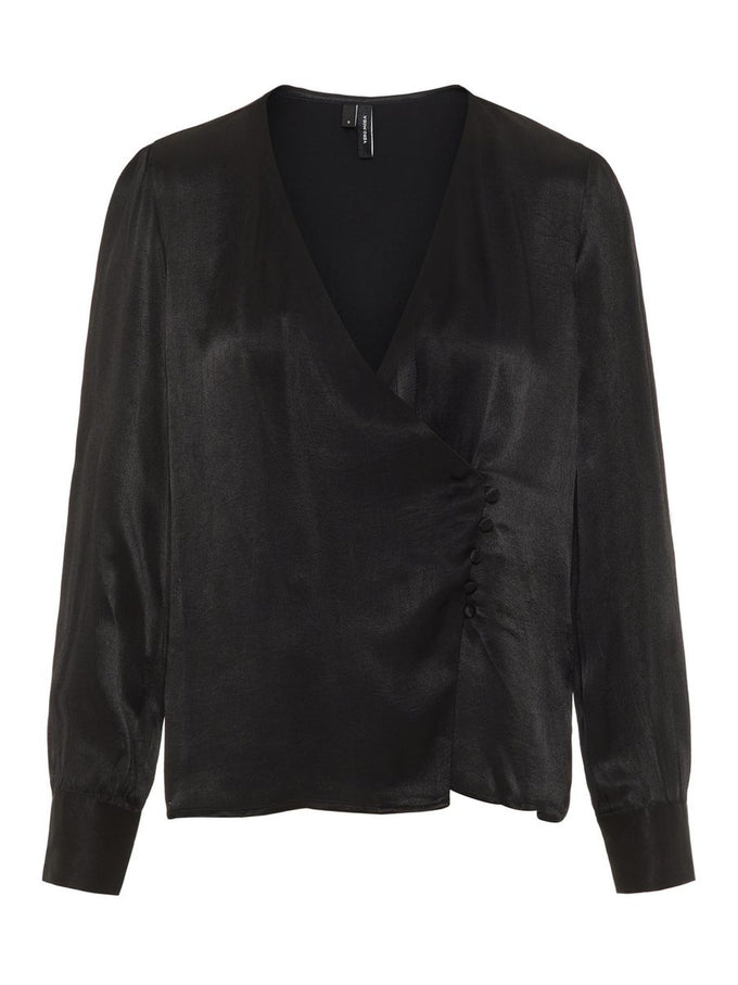 FEMININE SATIN BLOUSE BLACK