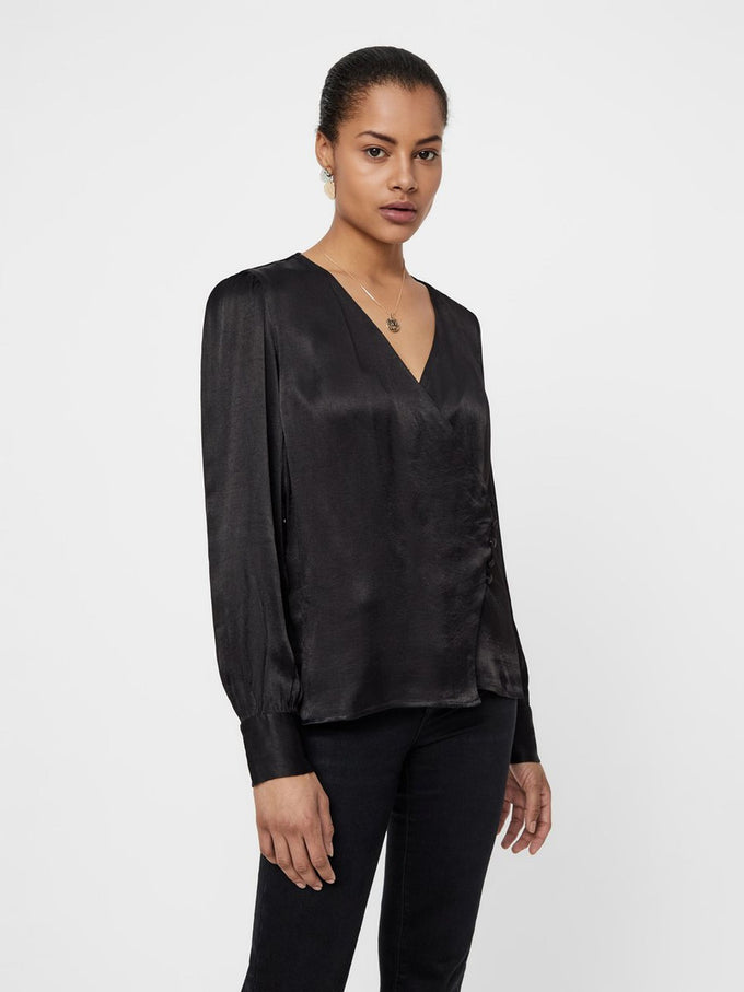 Long Sleeve Wrap Blouse BLACK
