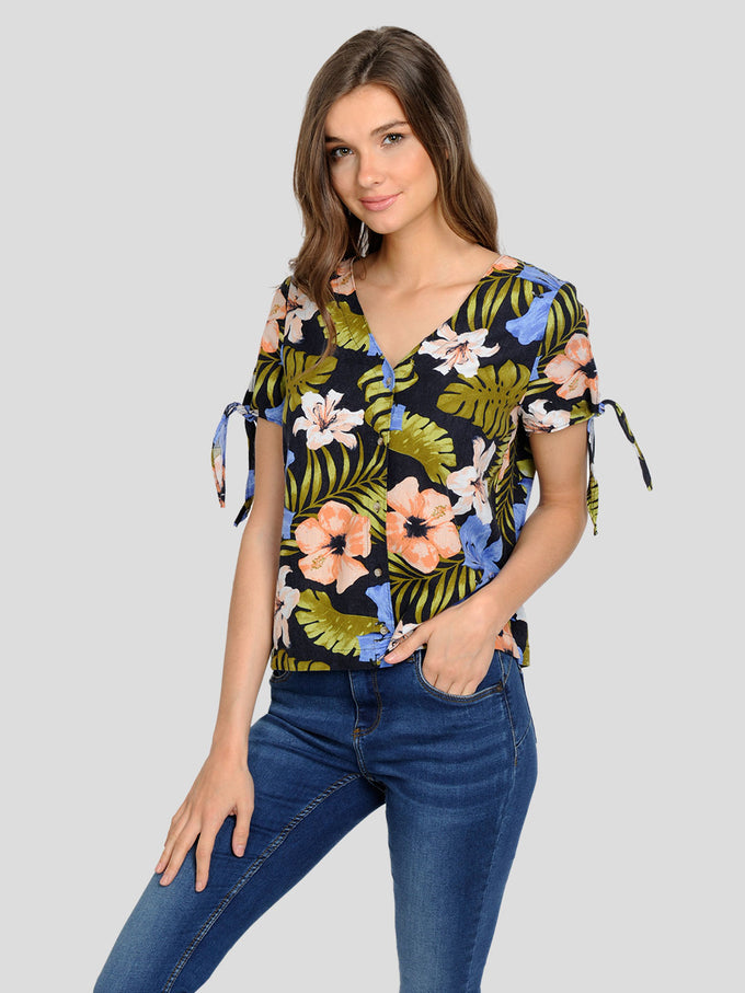 BUTTON-UP FLORAL BLOUSE NIGHT SKY