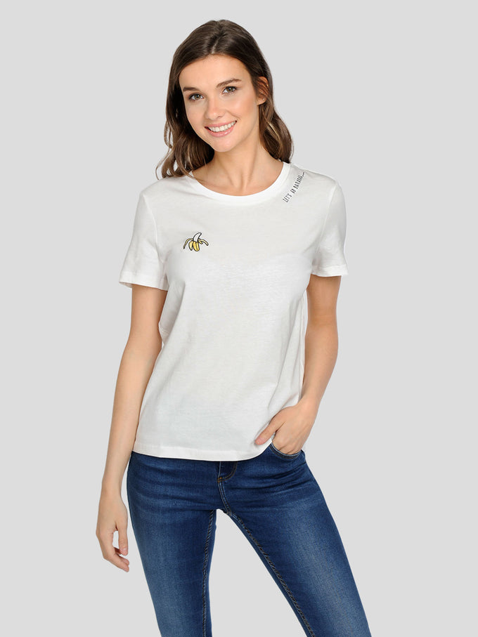 ORGANIC-COTTON EMBROIDERED T-SHIRT SOLID WHITE