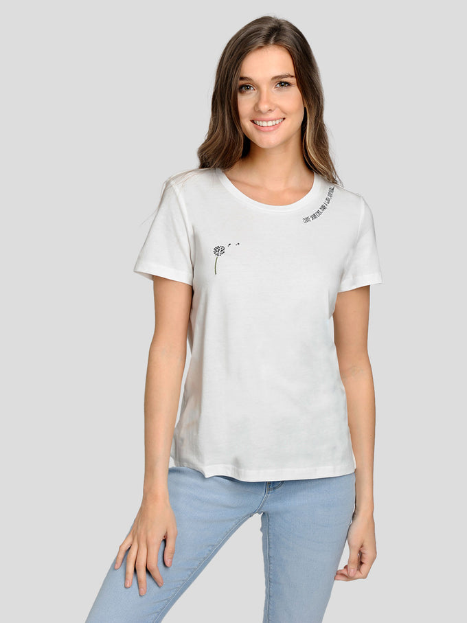 ORGANIC-COTTON EMBROIDERED T-SHIRT WHITE