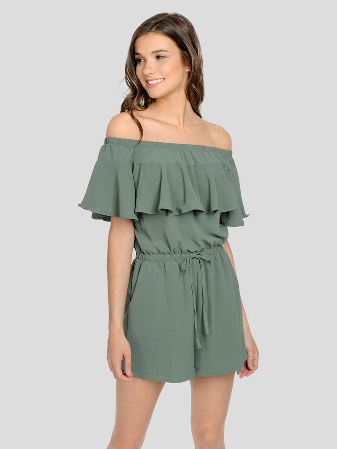OFF-THE-SHOULDER ROMPER LAUREL WREATH