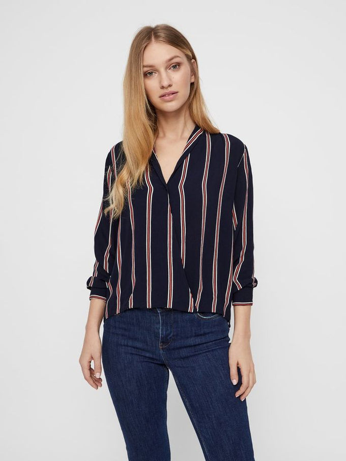 LONG SLEEVE STRIPED BLOUSE NIGHT SKY