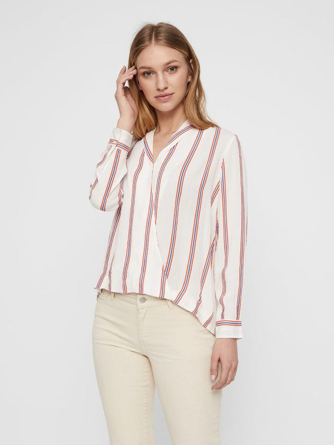 LONG SLEEVE STRIPED BLOUSE SNOW WHITE