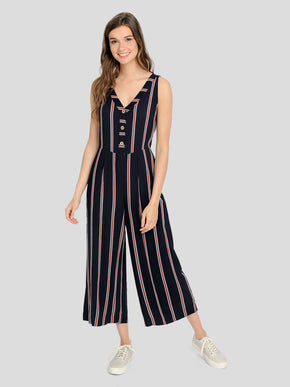 WIDE LEG STRIPED JUMPSUIT