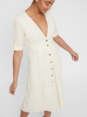 ROBE MIDI À ENCOLURE EN V