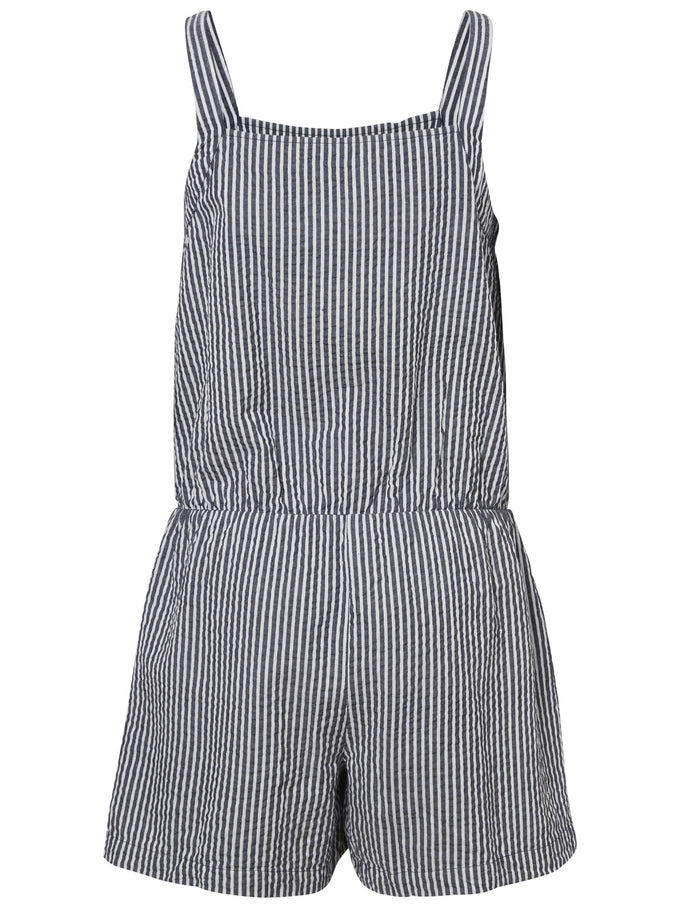 STRIPED COTTON ROMPER NIGHT SKY