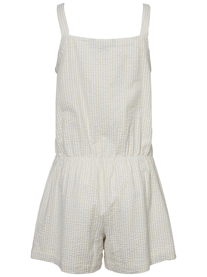 STRIPED COTTON ROMPER SNOW WHITE