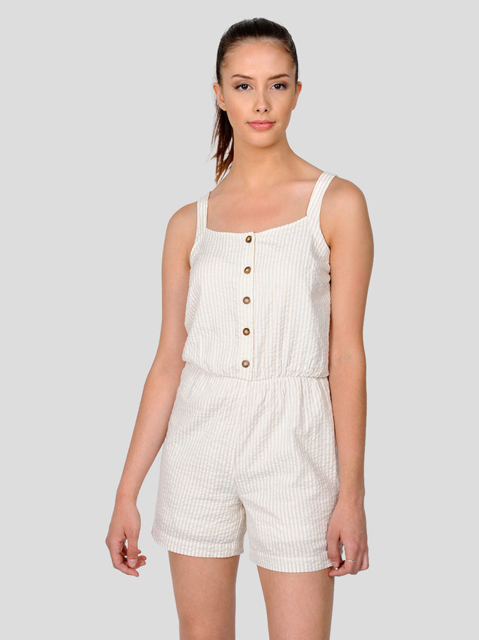FINAL SALE – STRIPED COTTON ROMPER SNOW WHITE