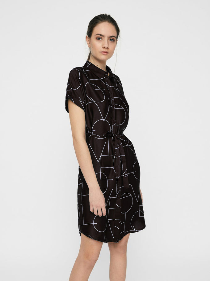 LOVE PRINT SILKY SHIRT-DRESS BLACK