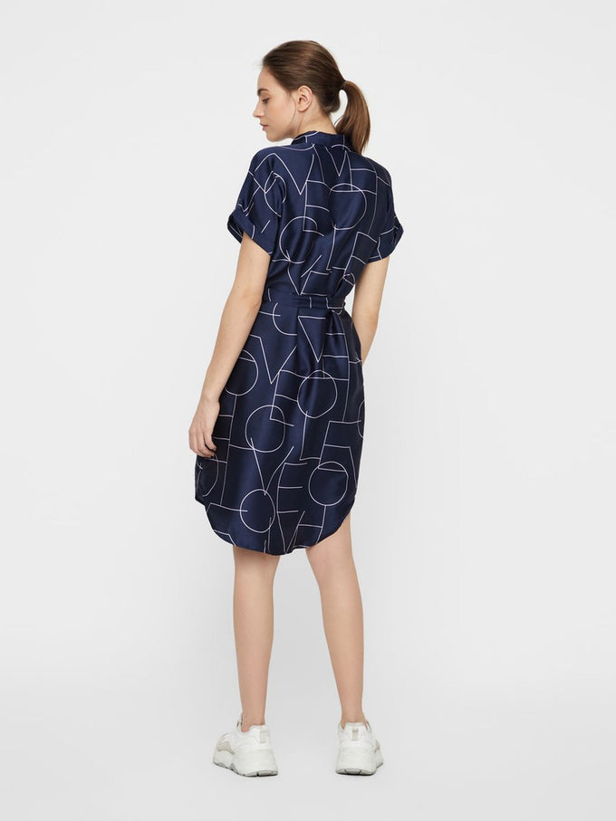 LOVE PRINT SILKY SHIRT-DRESS NIGHT SKY