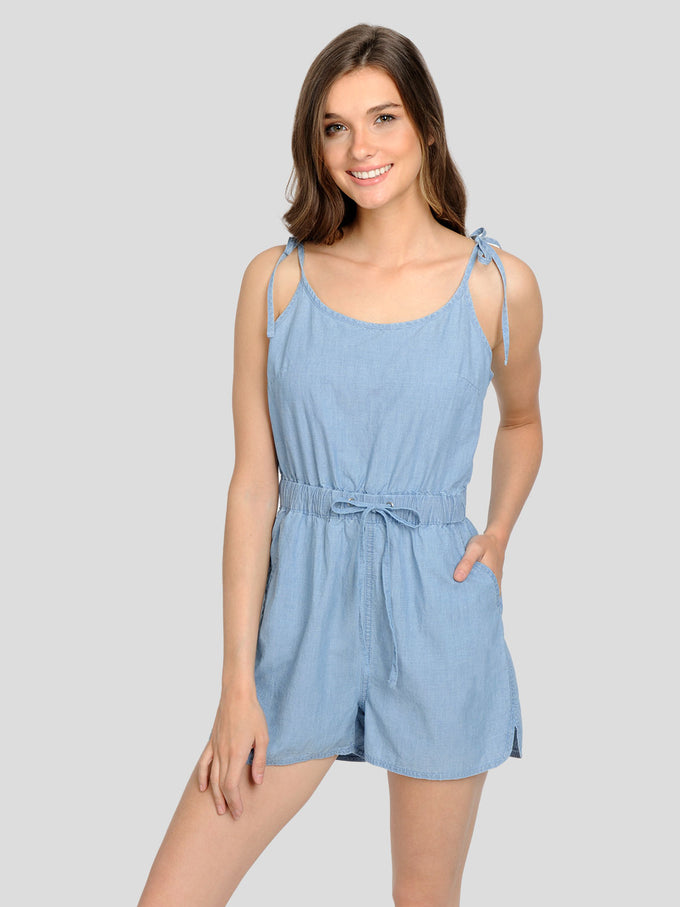 CHAMBRAY ROMPER LIGHT BLUE DENIM
