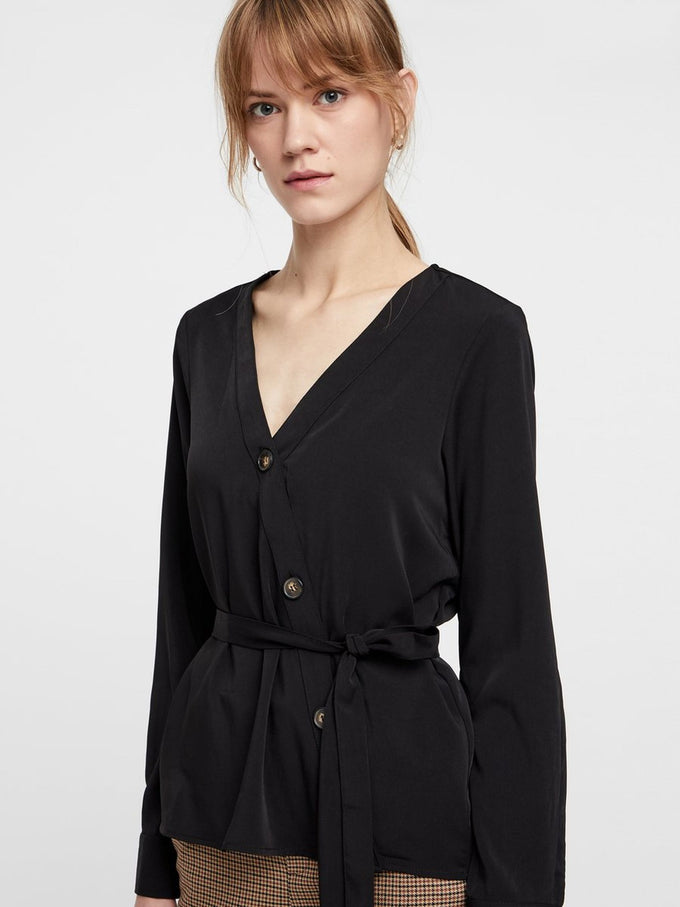 SHIRT WITH ASYMMETRIC BUTTON CLOSURE BLACK