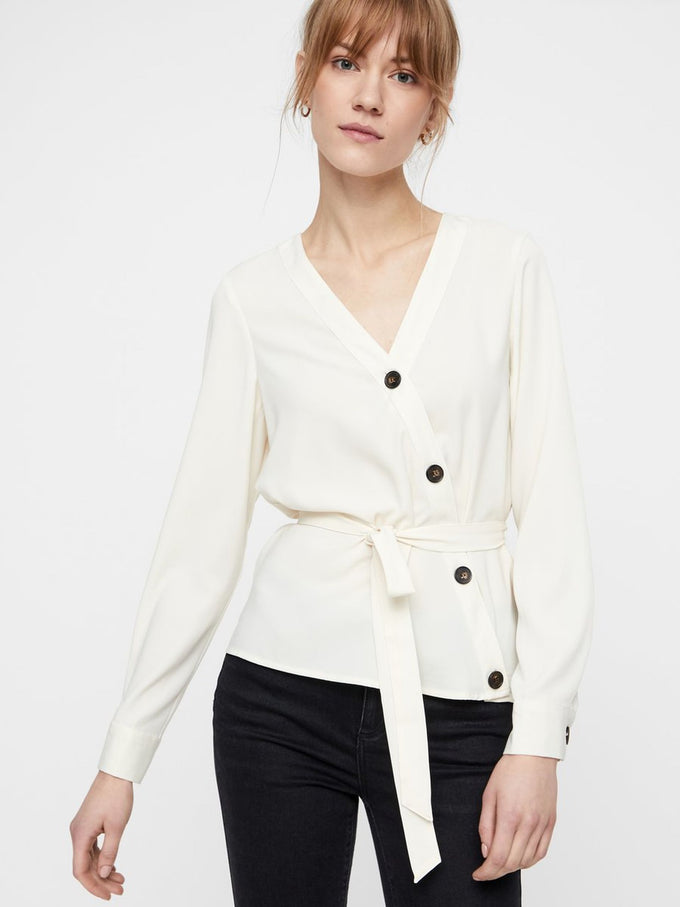 SHIRT WITH ASYMMETRIC BUTTON CLOSURE PRISTINE