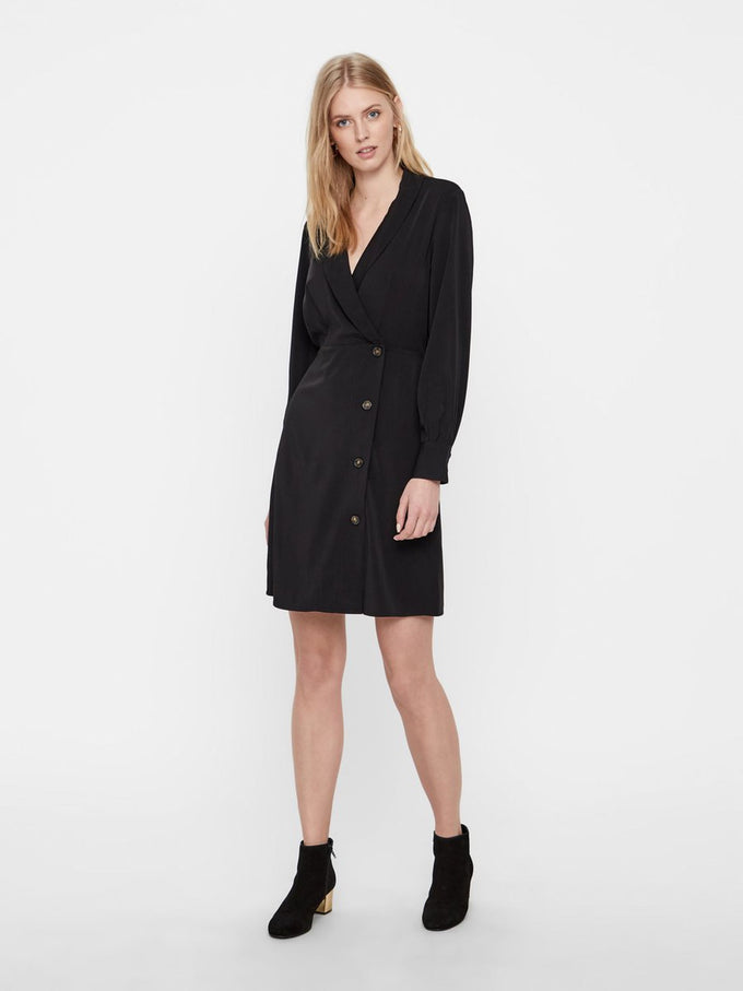 SILKY SHIRT-DRESS BLACK