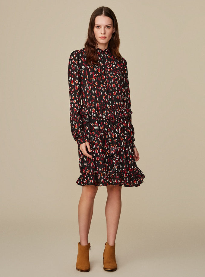 LONG SLEEVE DRESS WITH ABSTRACT PRINTS CABERNET