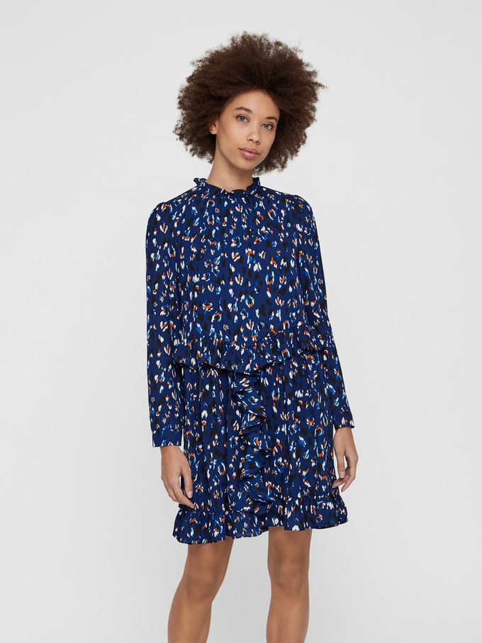 LONG SLEEVE DRESS WITH ABSTRACT PRINTS BLUEPRINT