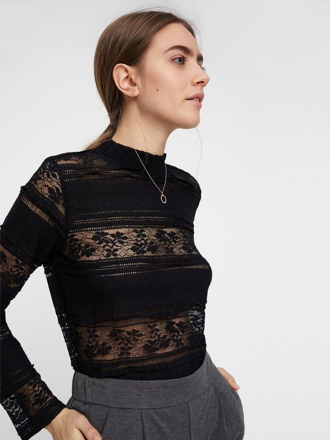 SEE-THROUGH LACE BLOUSE BLACK