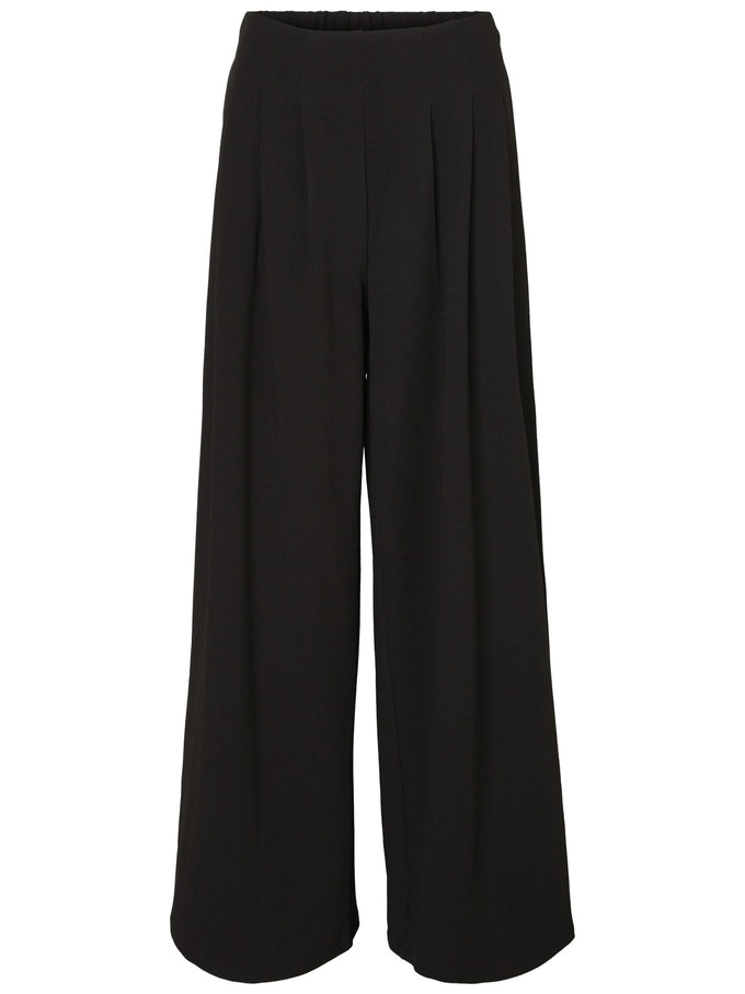 HIGH WAIST WIDE LEG PANTS BLACK