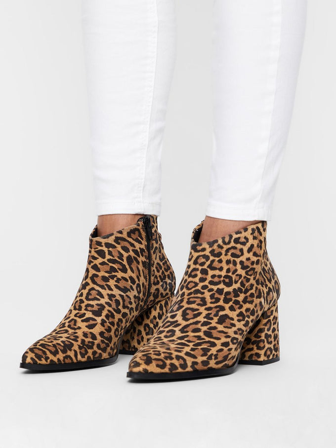 FAUX-SUEDE LEOPARD BOOTS TOBACCO BROWN