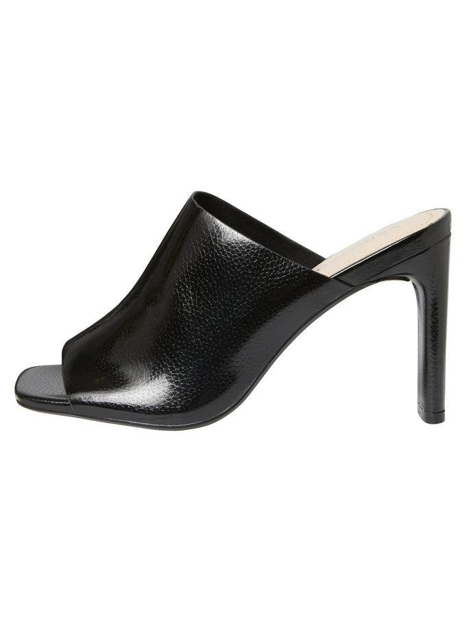 PATENT FAUX-LEATHER MULES BLACK