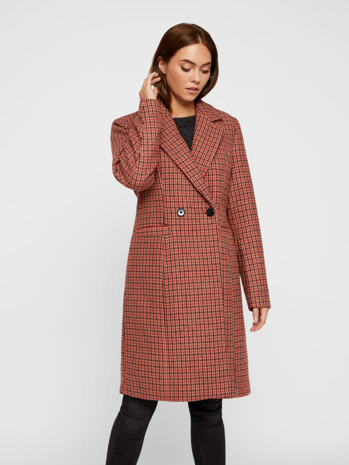 Houndstooth Wool Coat HIGH RISK RED