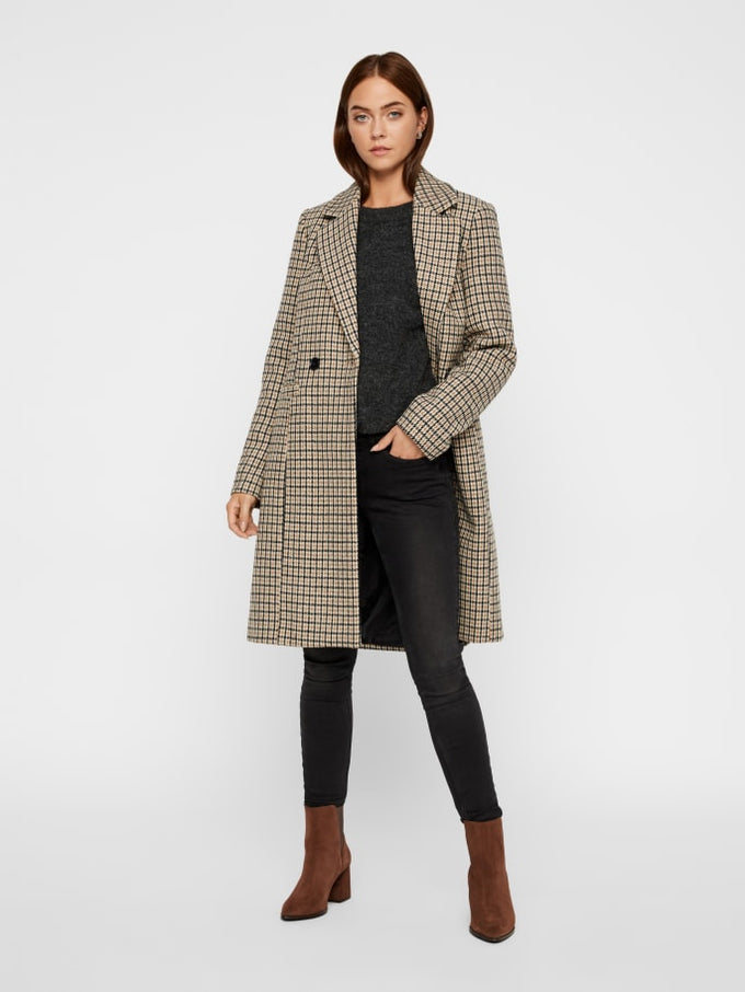 Houndstooth Wool Coat TOBACCO BROWN
