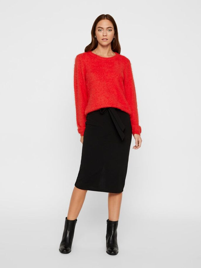 POILU LONG SLEEVE KEYHOLE ROUND NECK SWEATER HIGH RISK RED