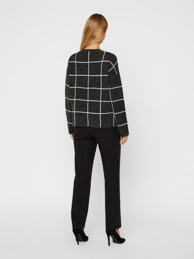 SOFT SWEATER WITH GEOMETRIC DETAILS BLACK
