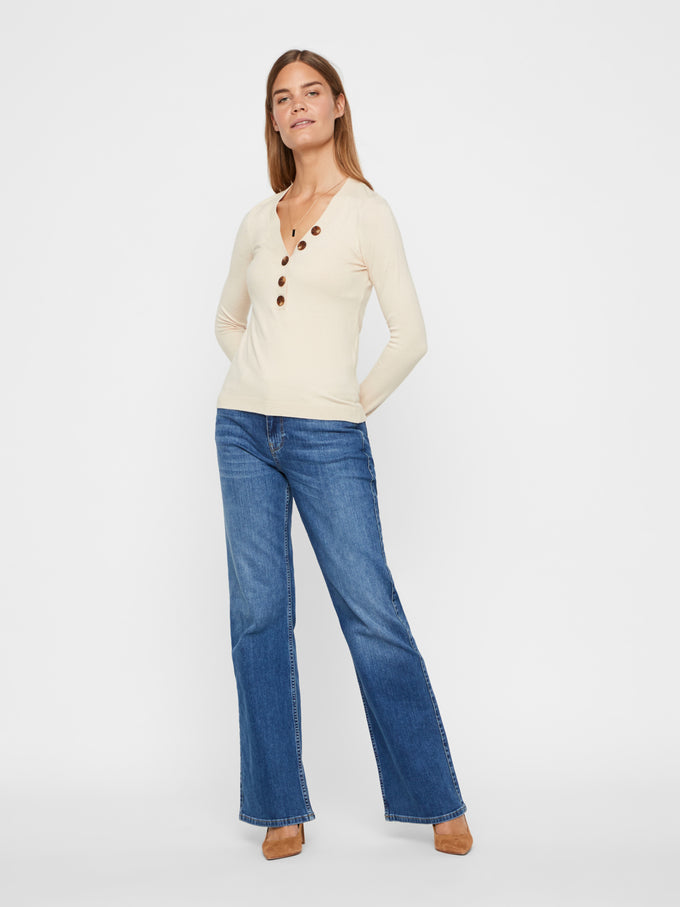 V-Neck Sweater With Buttons BIRCH