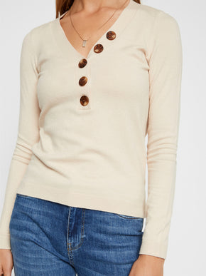 V-Neck Sweater With Buttons