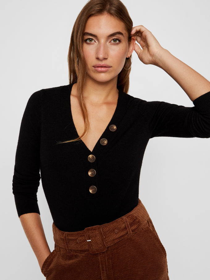 V-Neck Sweater With Buttons BLACK