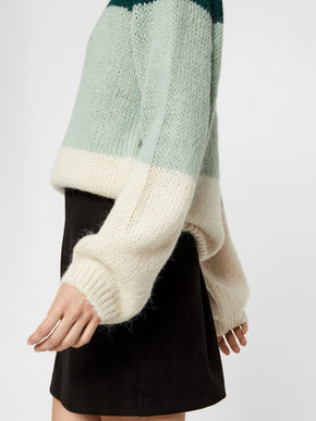 Colourblock Sweater With Ballon Sleeves