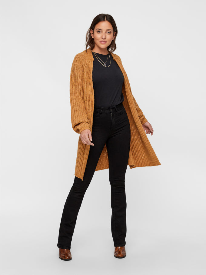 Oversized Cardigan With Balloon Sleeves TOBACCO BROWN