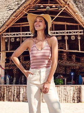 CAMISOLE COURTE À RAYURES
