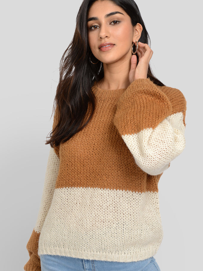 APOLLO LONG SLEEVE ROUND NECK SWEATER TOBACCO BROWN