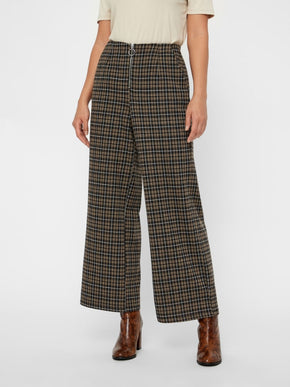 High Waist Plaid Pants With Front Zip