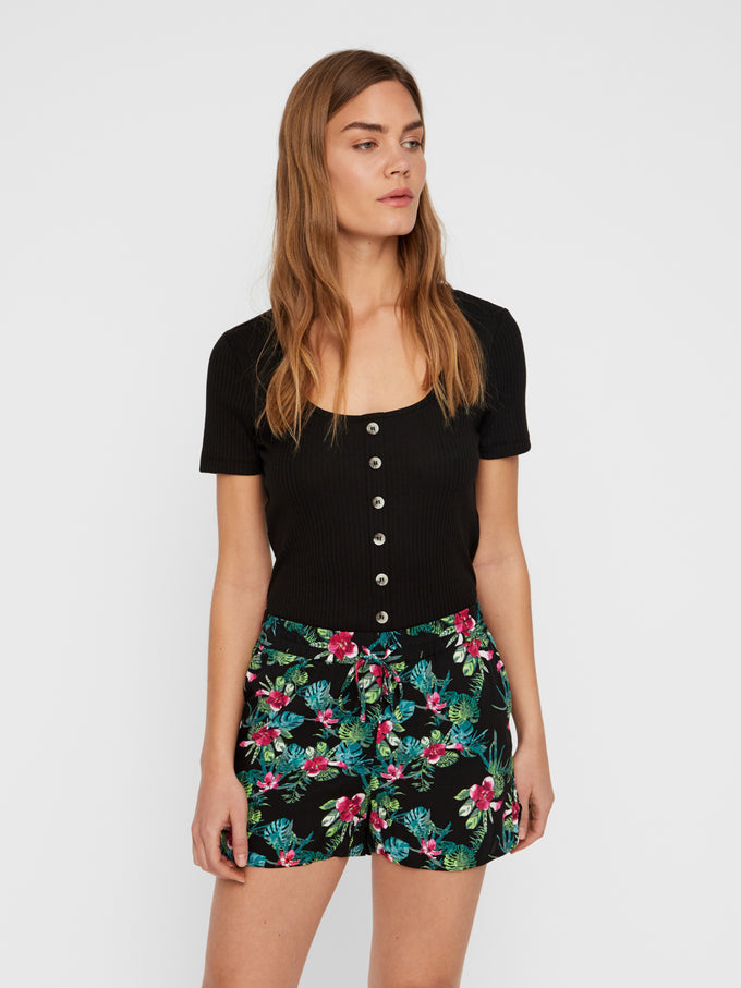 CROPPED RIBBED T-SHIRT WITH DECORATIVE BUTTONS BLACK