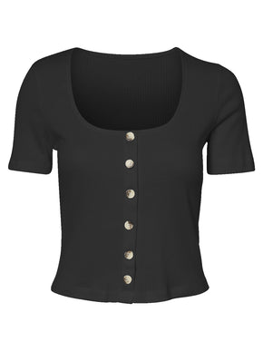 CROPPED RIBBED T-SHIRT WITH DECORATIVE BUTTONS