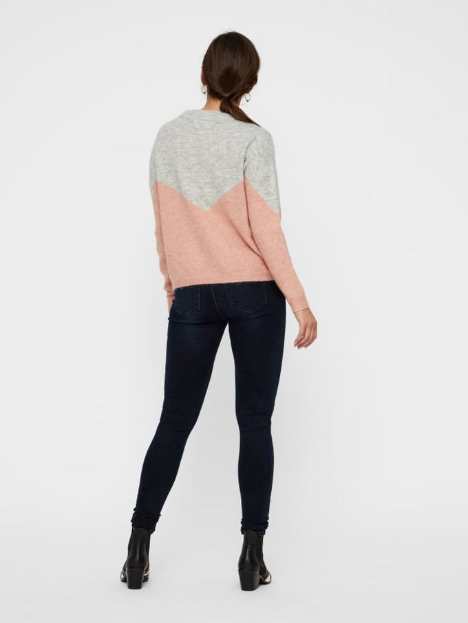 COLOUR BLOCK SWEATER PINK
