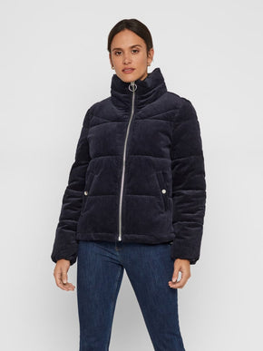 CORDUROY PUFFER JACKET WITH A HIGH COLLAR