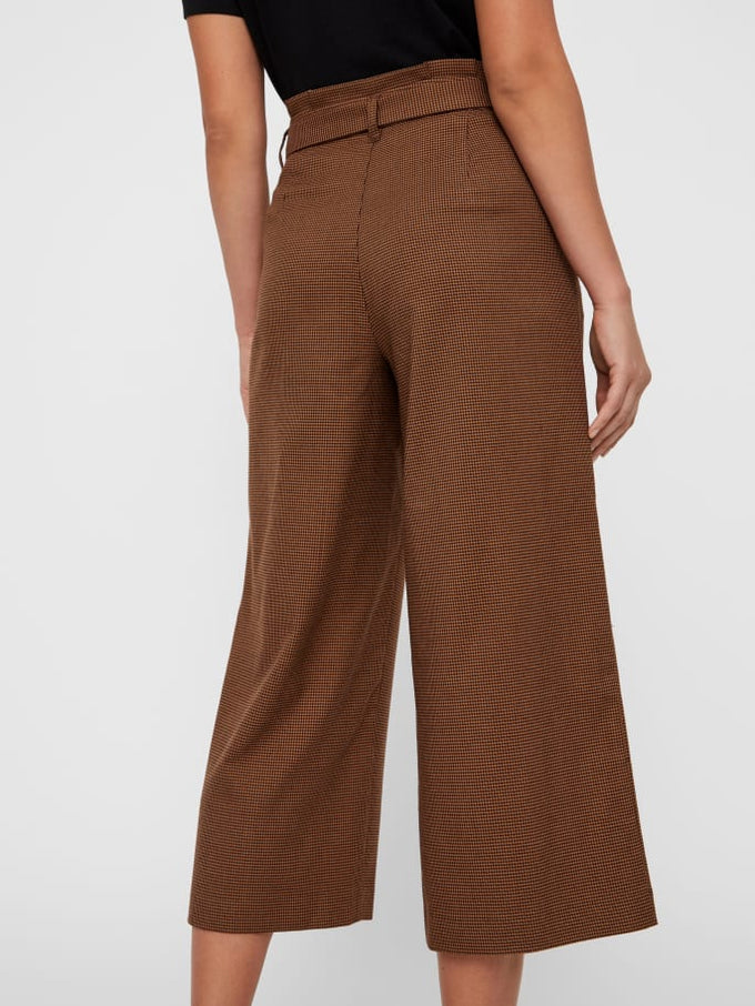 HIGH WAIST PAPER-BAG PLAID PANTS COFFEE BEAN