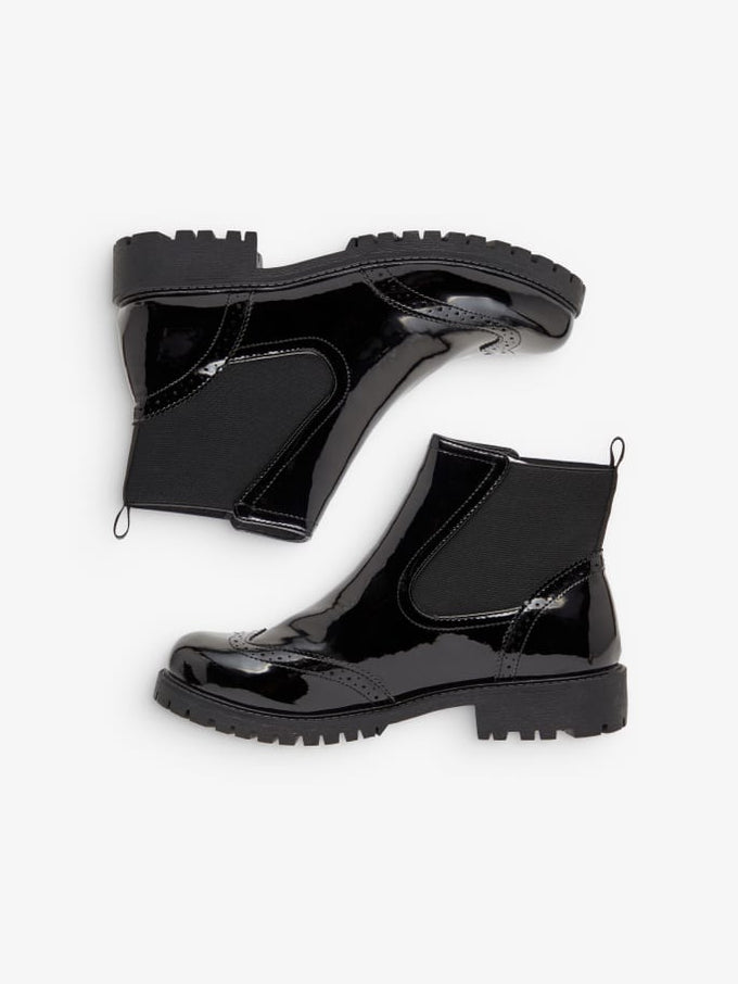 Patent Ankle Boots BLACK