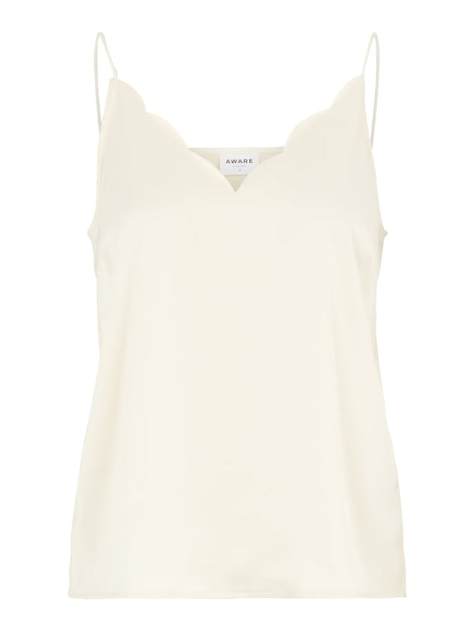 Aware Scallop Trim Satin Cami BIRCH