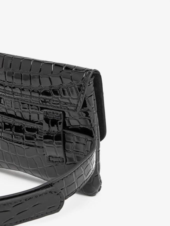 Embossed Croc Belt Bag BLACK