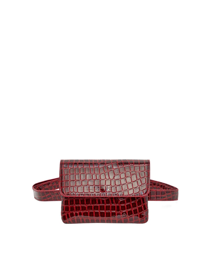Embossed Croc Belt Bag MADDER BROWN