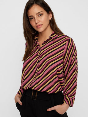 3/4 Sleeve Button Down Striped Blouse