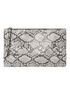 Faux Leather Snake Print Clutch