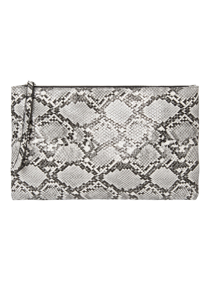 Faux Leather Snake Print Clutch BLACK